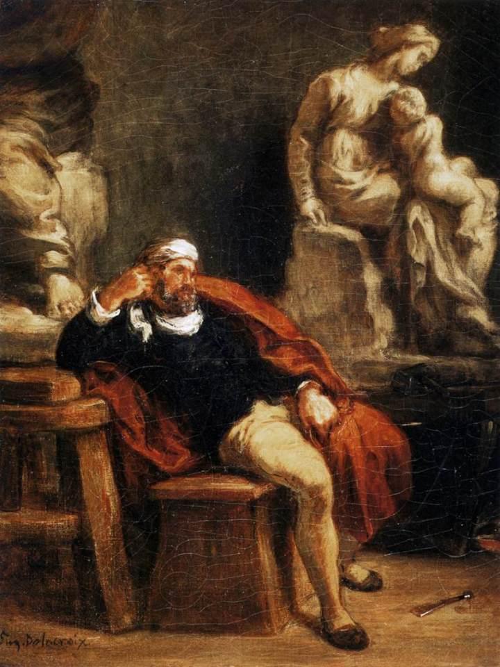 Eugène Delacroix- Michelangelo nel suo studio- 1849-50